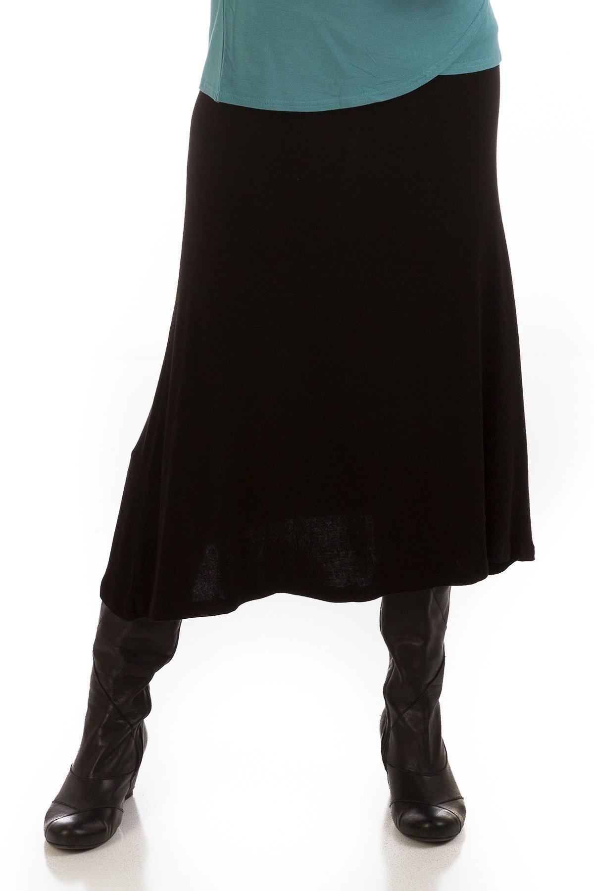 Yala MAL16W Medium Black Bamboo Mallory Sweater Skirt with Gathered Waist