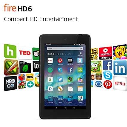 Standing Leather Case for Fire HD 6 Black 4th Generation