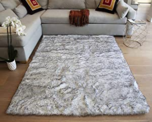 Shimmer Home Store Office Cozy Shag Collection 3D Shag Rug Contemporary Living & Bedroom Soft Shaggy Area Rug 5-Feet-by-7-Feet-Yellow, Black, Gray ( SAD 259 Yellow Black Gray )