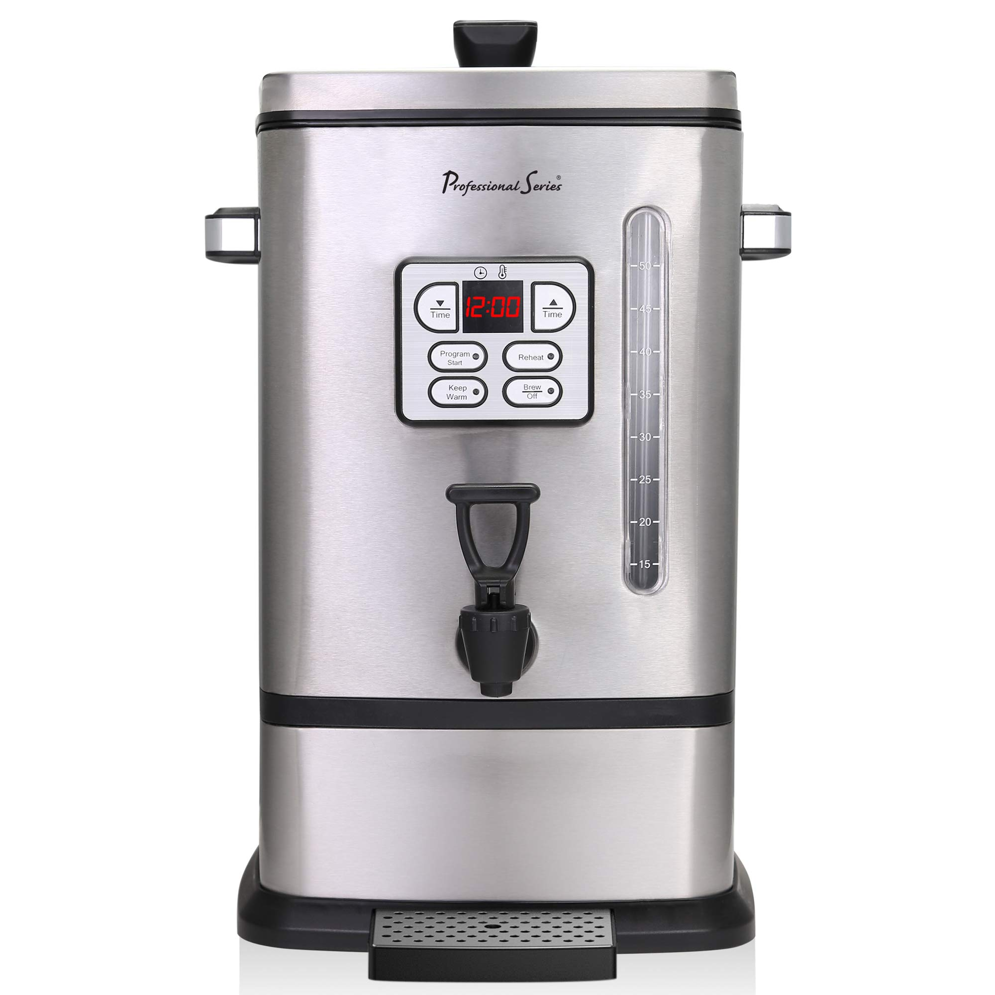 Continental Electric PS-SQ018 Professional Coffee Urn, 50 Cup, Stainless Steel