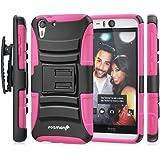 HTC Desire EYE Holster Case, Fosmon STURDY [Locking Swivel Belt Clip | Kickstand] Rugged Heavy Duty Shock Proof Case for HTC Desire EYE (Black/Pink)