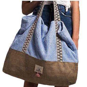 Brenice Bolso de mujer con tejido de toalla Bolsa de playa Bolso de mano informal Bolso de hombro de gran capacidad azul cielo: Amazon.es: Equipaje
