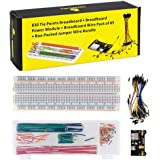 KEYESTUDIO Electronics Component Kit w/Power Supply Module, Jumper Wire, 830 tie-Points Breadboard for Arduino UNO, MEGA, Nano and Raspberry Pi 4