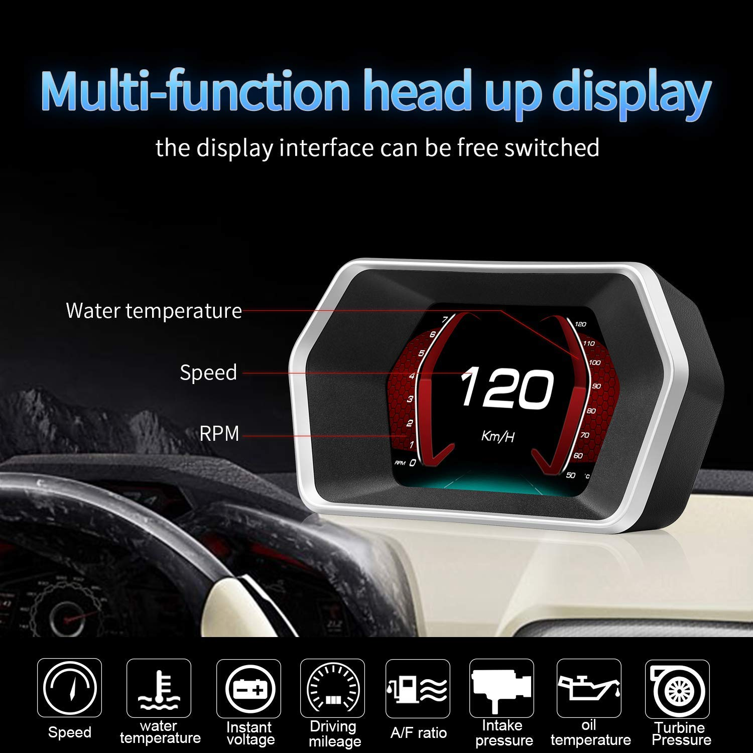 YUGUANG 6 HUD OBD2 GPS Dual System Speedometer Mileage Diagnostic Auto Obd2 HUD Display Altitude Flux Data Compass Clock Alarm Overspeed Temperature Pressure Turbine Compatible for All Cars Trucks