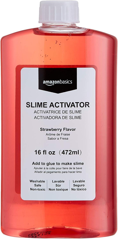 AmazonBasics Slime Activator Borax Solution, Strawberry Flavor, 16-oz
