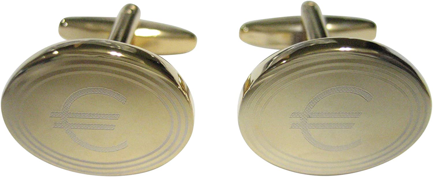 Kiola Designs Gold Toned Etched Oval Euro Currency Sign Cufflinks