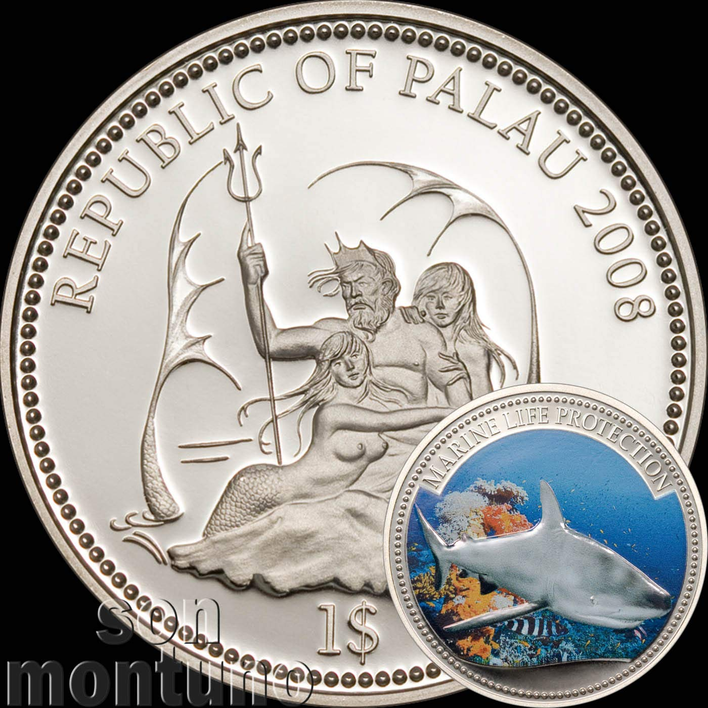 2008 GREY REEF SHARK - Palau Marine Life Protection Silver Plated Copper CuNi One Dollar Coin $1