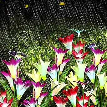 Simulación Flor Jardín Piso Lámpara De Jardín Exterior Led Lirio Decoración Lámpara Led Cuento De Hadas Decoración Cumpleaños Boda Fiesta Navidad Luces Impermeable Guirnalda: Amazon.es: Iluminación