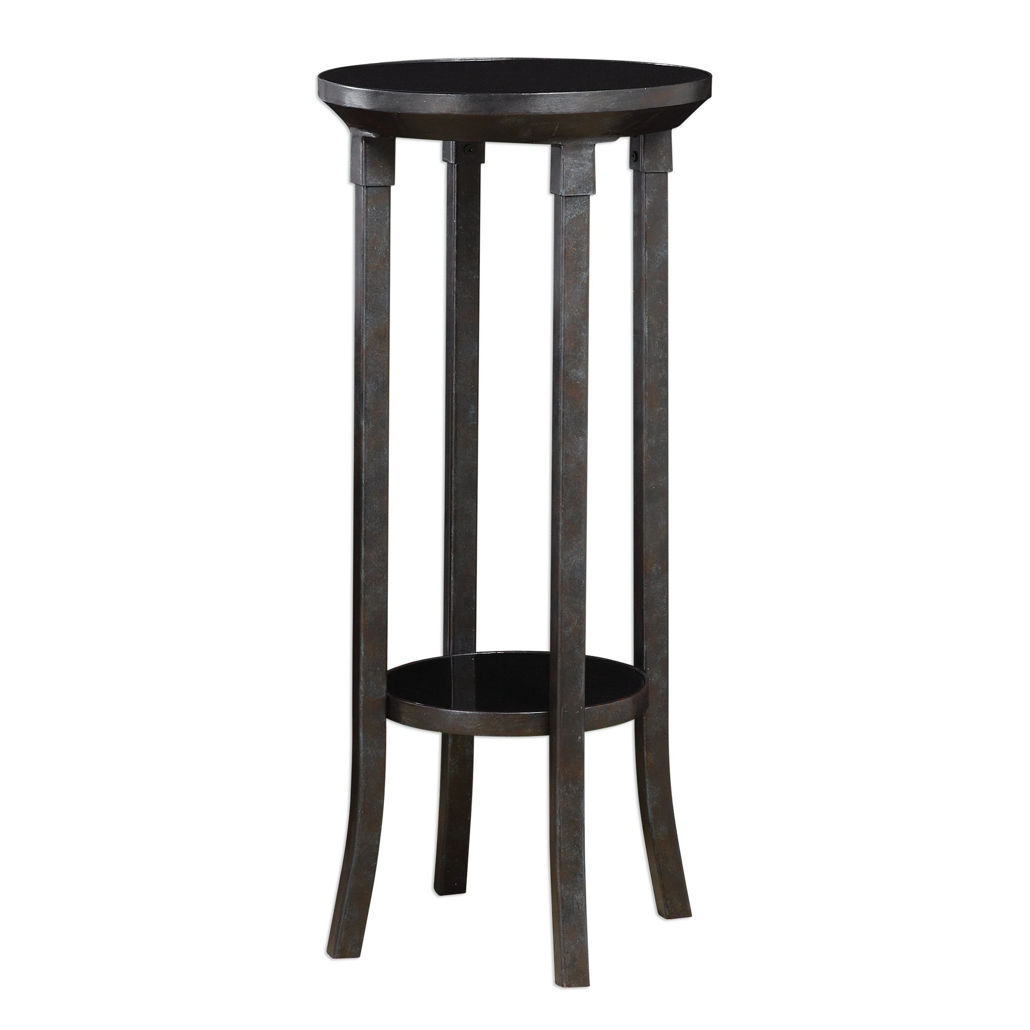 Round Minimalist Iron Pedestal Table Plant Stand | Tall Black Industrial Transitional