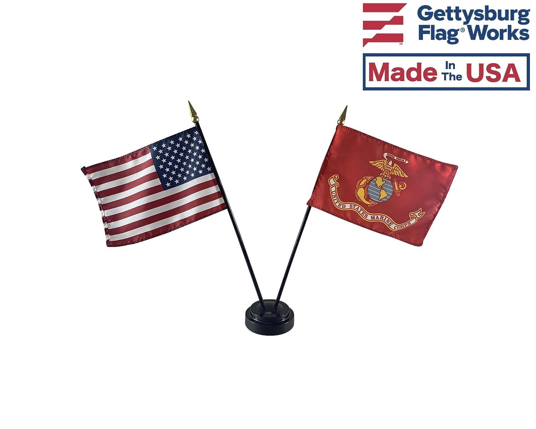 4x6 E-Gloss United States Marine Corps (USMC) Stick Flag w/U.S. Stick Flag & 2 Flag Plastic Table Base - Qty 1