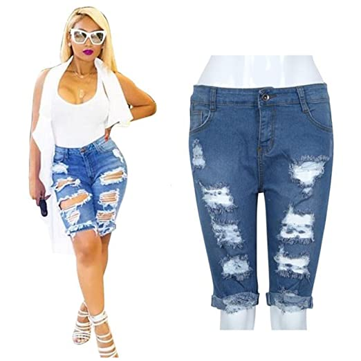 5deac1848a Challyhope Women Hot Shorts Clearance! Ladies Summer Ripped Hole High Waist  Short Jeans Bermuda Denim