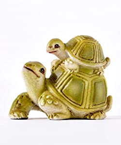 Gift Craft Miniature Woodland Animal Fairy Garden Mini Forest Polystone Figurines (Turtle Family) 711259