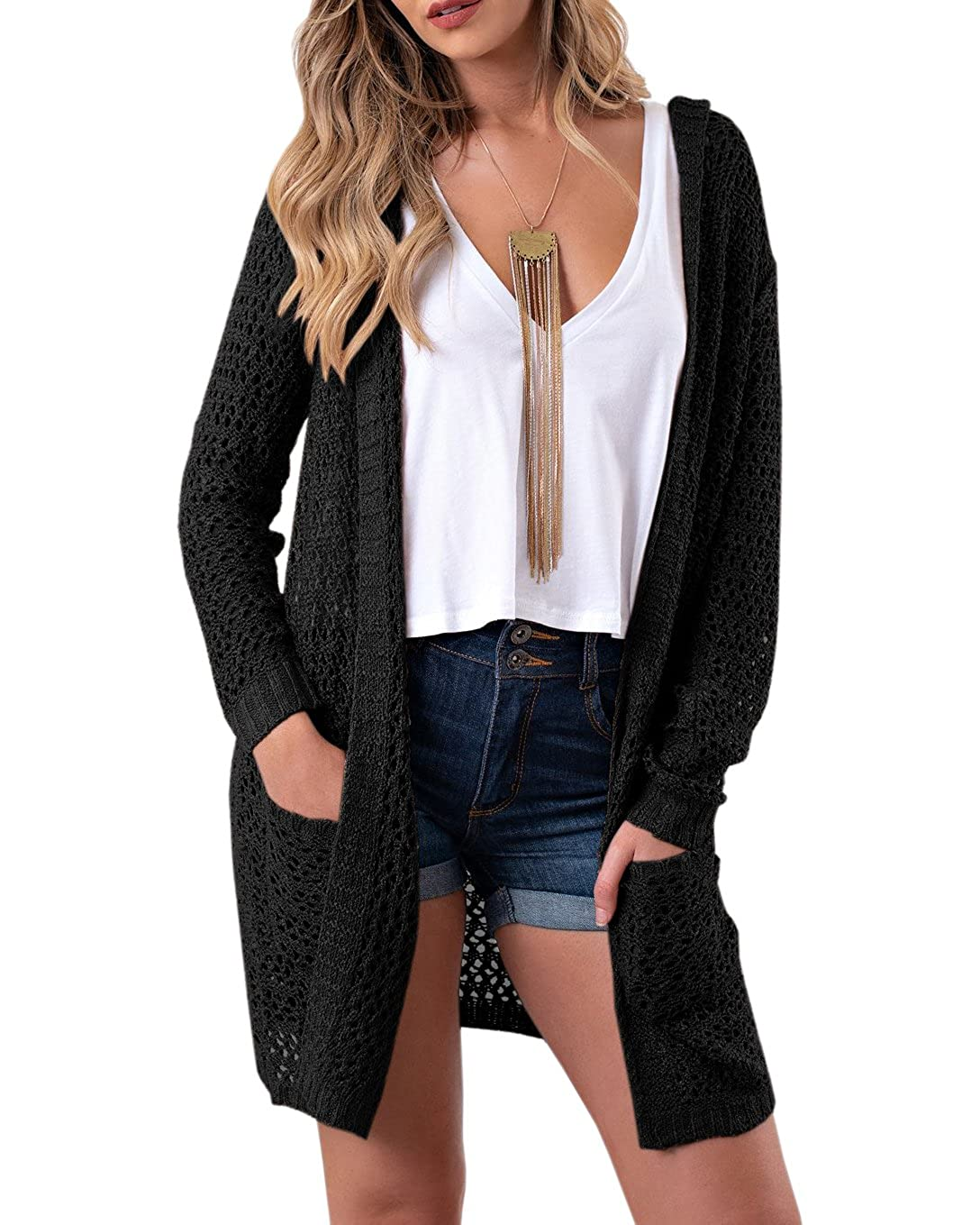 adc137077f Womens Long Sleeve Hollow Out Crochet Knitted Hooded Long Sweater Cardigans  Coat With Pocket Design  Hollow out crochet knitted cardigans