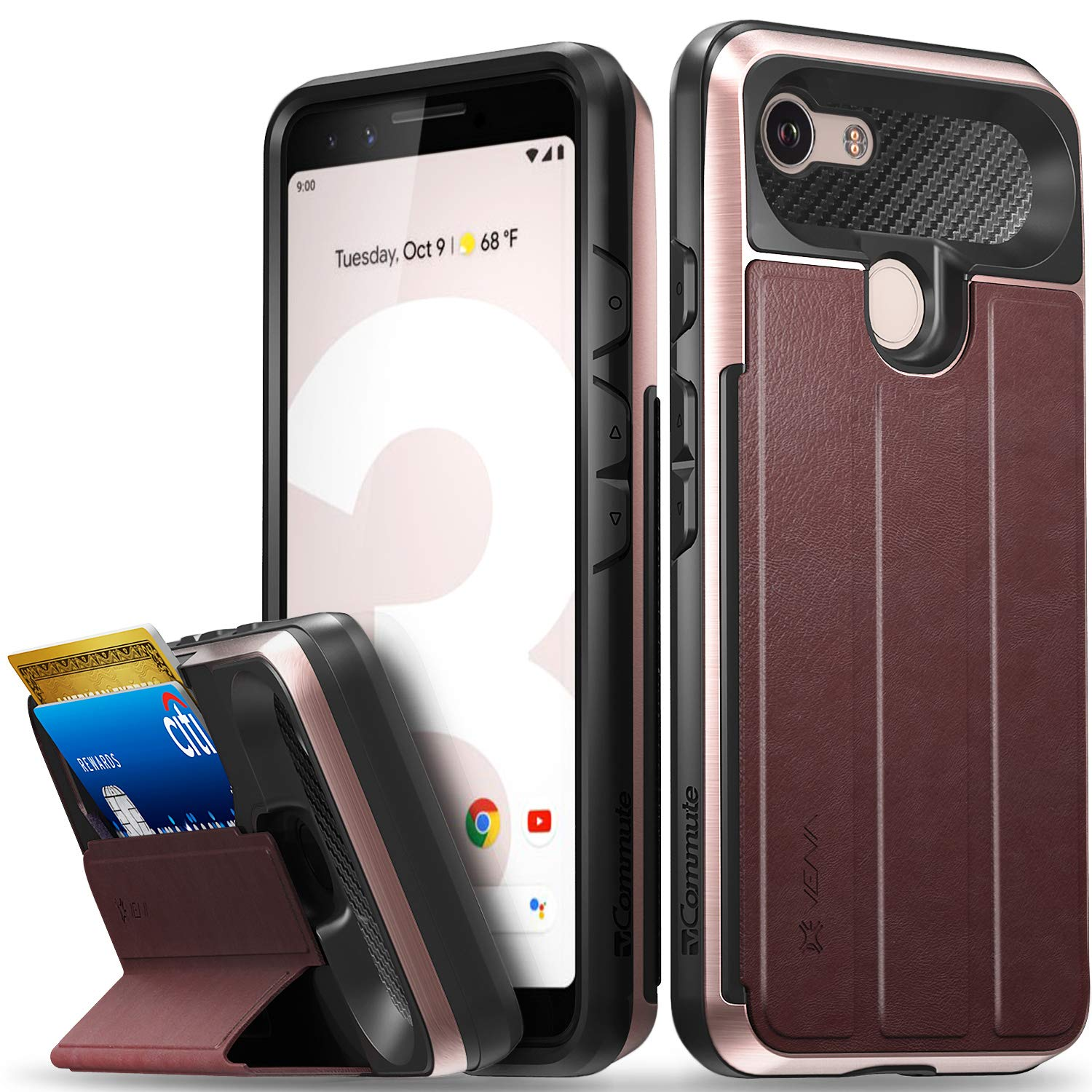 Vena Google Pixel 3 Wallet Case, [vCommute][Military Grade Drop Protection] Flip Leather Cover Card Slot Holder with Kickstand for Google Pixel 3 (Rose Gold/Red/Black)