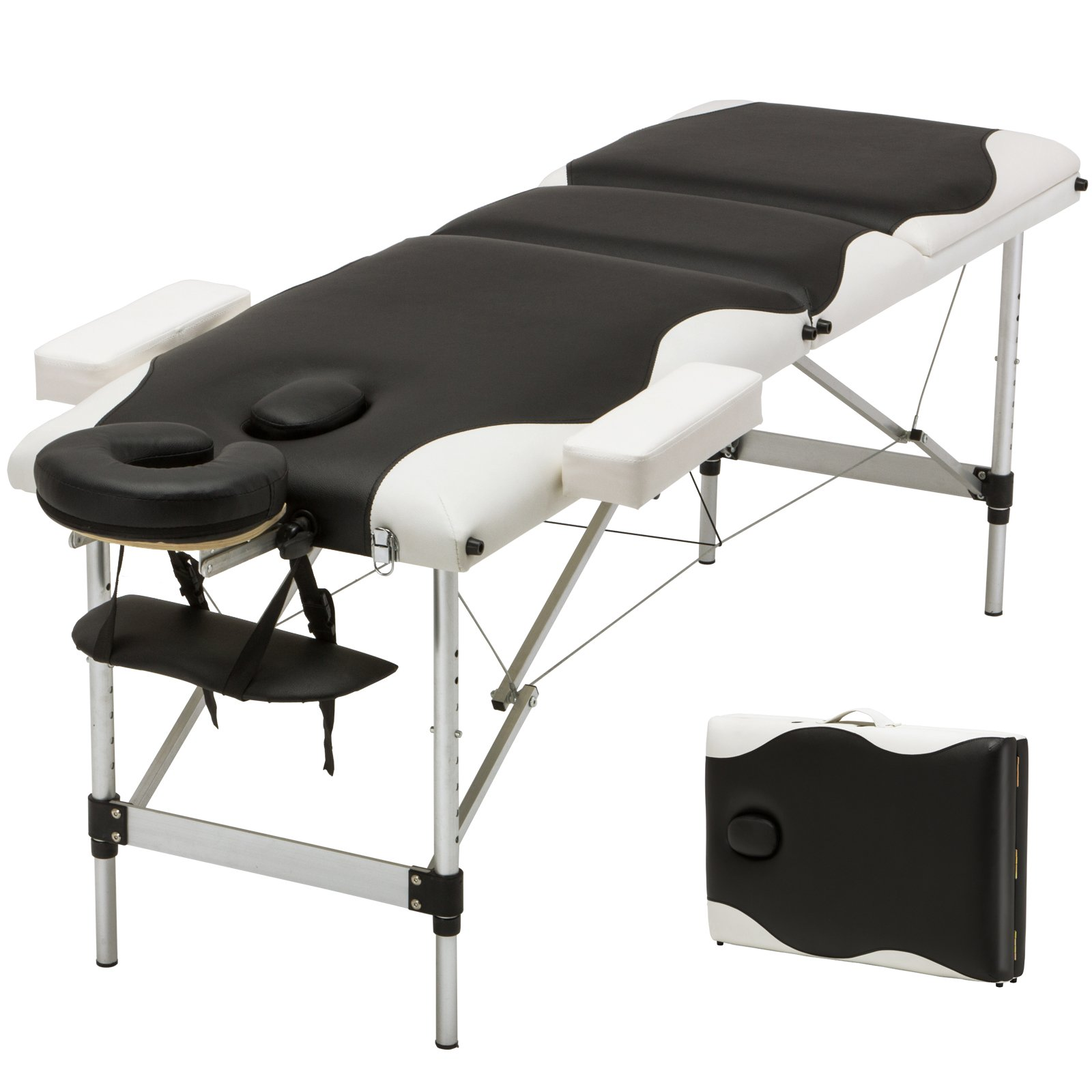 Uenjoy Folding Massage Table 84'' Professional Folding Massage Bed With Carrying Bag 3 Fold,Black & White Alu