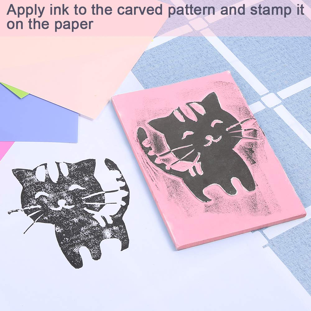 Sntieecr 4 x 6 Inches Rubber Stamp Carving Blocks Cut Printing Block with Tearable Back Pink Soft Rubber for Easy Carving Craft Stamps