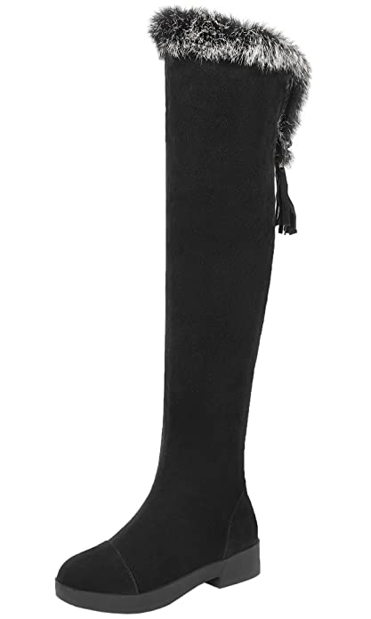7570394a59b1 BIGTREE Winter Warm Thigh High Boots Women Faux Fur Suede Over The Knee  Boots: Amazon.ca: Shoes & Handbags
