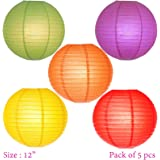 Asian Hobby Crafts 12-inch Round Paper Lamps/Beautiful Paper Balls for Decoration at Diwali/Birthday/Baby Shower : Multicolor : Pack of 5pcs