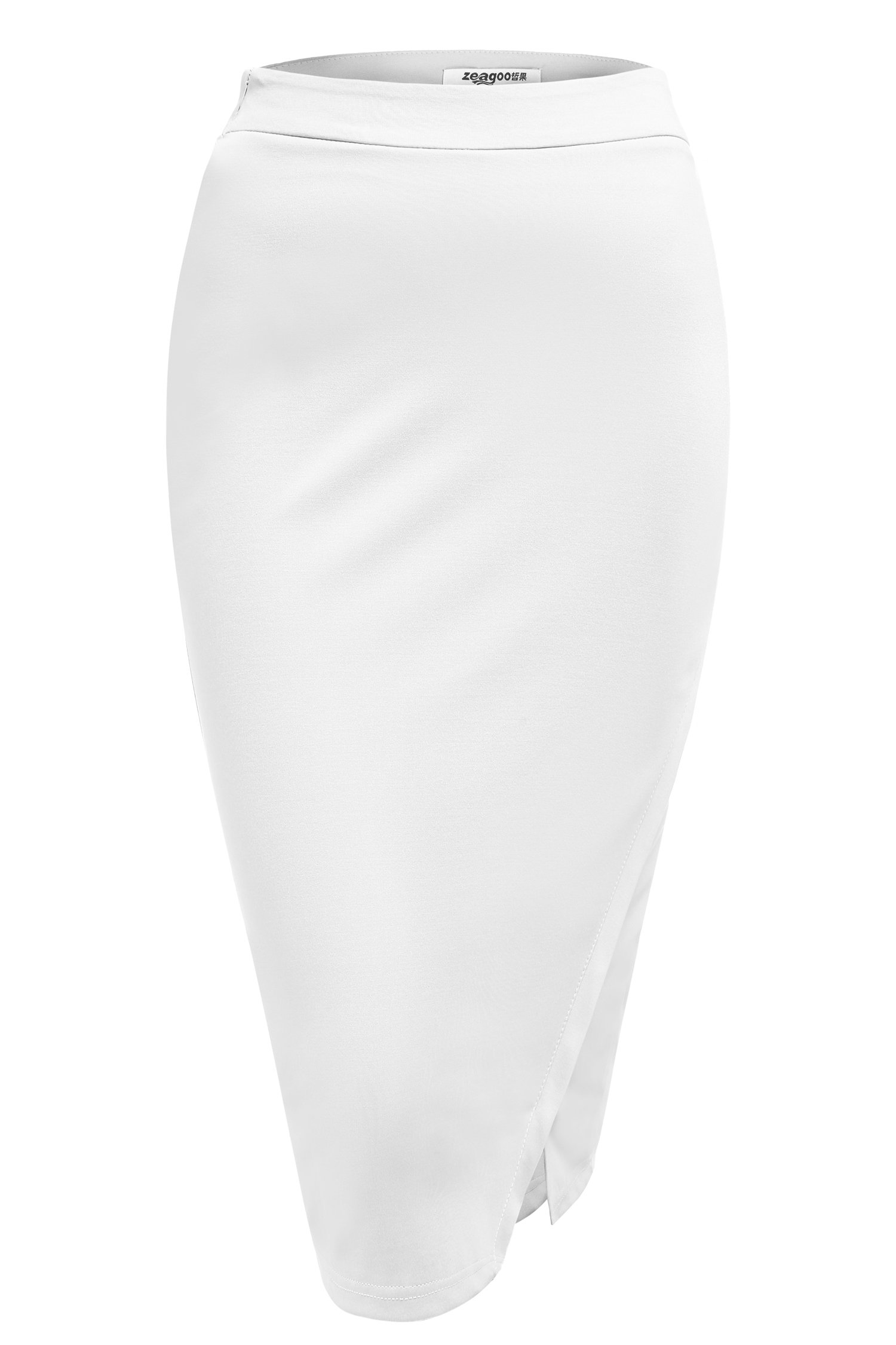 Etouji Women's White Stretchy Casual Slim Fit Midi Pencil Skirt