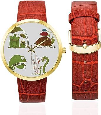 Amazon.com: Reptiles Fashion Womens Golden Leather Strap ...