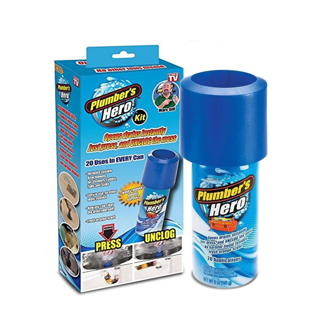 Plumber's Hero Kit Green Unclog Ease Odor Killer & Drain Cleaner Solution 20 Uses in Every Can Sold by As-onTV