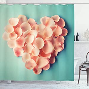 Heart Decor Shower Curtain by Ambesonne, Heart Shaped Floral Petals Valentines Mother Wedding Day Sweet Still Life Icon, Fabric Bathroom Decor Set with Hooks, 70 Inches, Peach and Mint