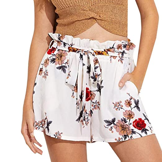 dffee9fa3ae Women Shorts Floral Print Casual Belt Loose Hot Pants Ladies Summer Beach  Trousers Lounge Loose for Beach