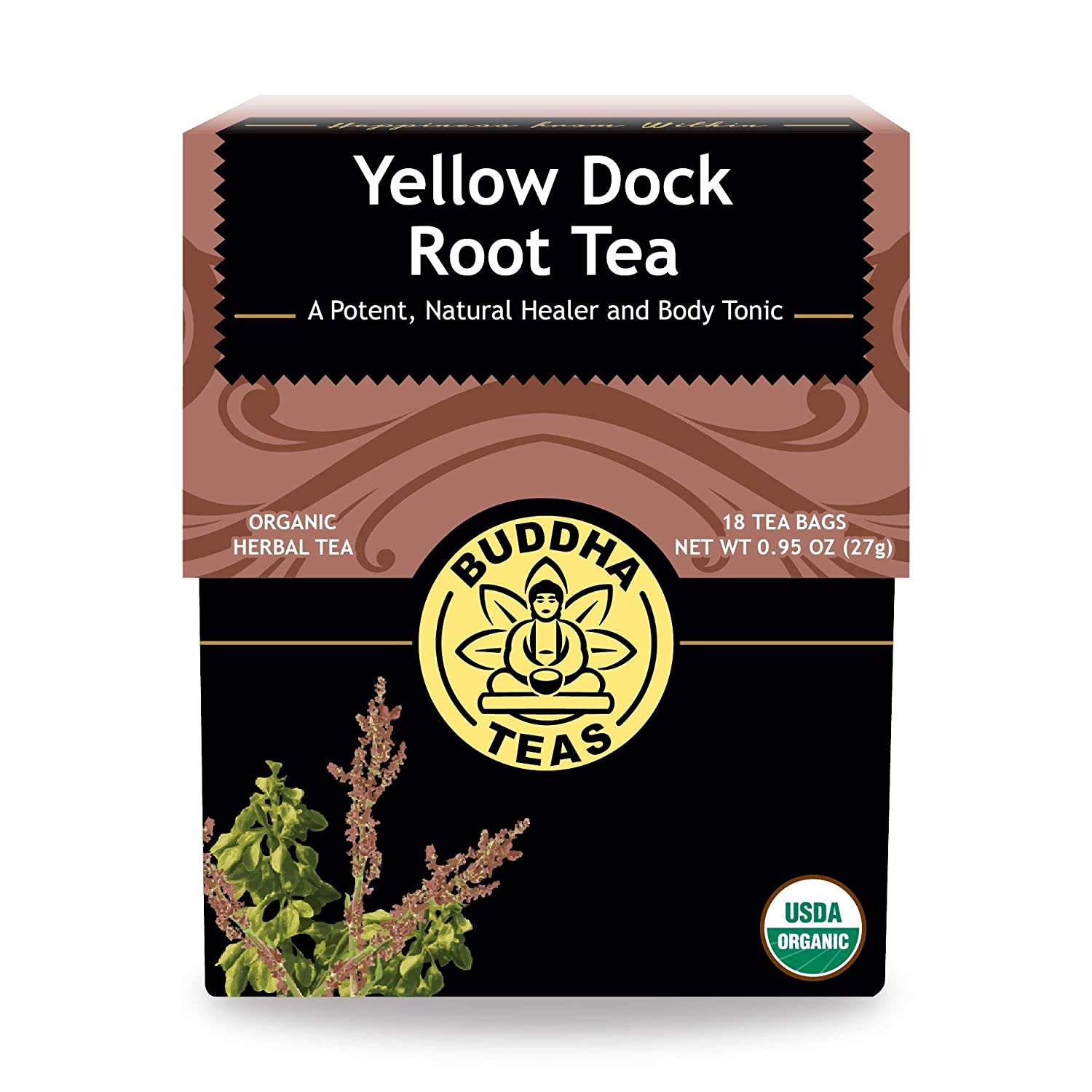 Organic Yellow Dock Root Tea – 18 Bleach-Free Tea Bags – Caffeine-Free Tea, Powerful Detoxifier That Supports a Healthy Gastrointestinal System, Good Source of Vitamins, Kosher