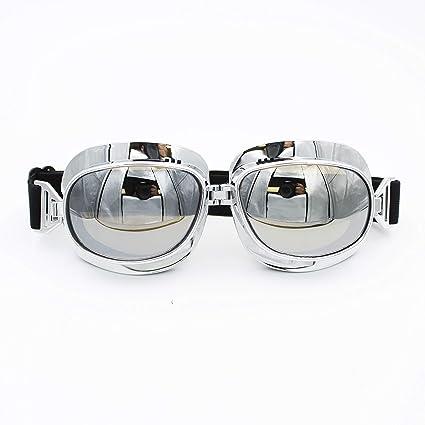 Yellow Lens Chrome Frame Vintage Retro Pilot Aviator Style Motorcycle Goggles