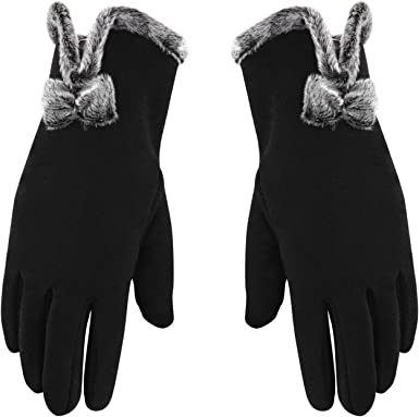 Women Ladies Winter Warm Thick Soft Cotton Touch Screen Bow-knot Gloves US STOCK