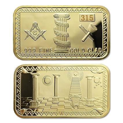 Freemason Masonic Symbol Gold Clad Bar Mason Gift Coin