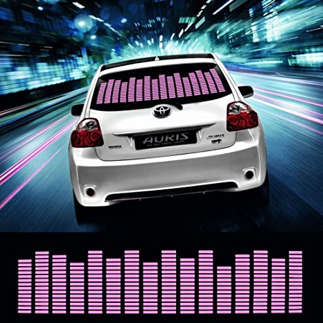 DIYAH Auto Sound Music Beat Activated Car Stickers Equalizer Glow LED Light  Audio Voice Rhythm Lamp 90cm X 25cm / 3FT X 5/6FT (Pink)