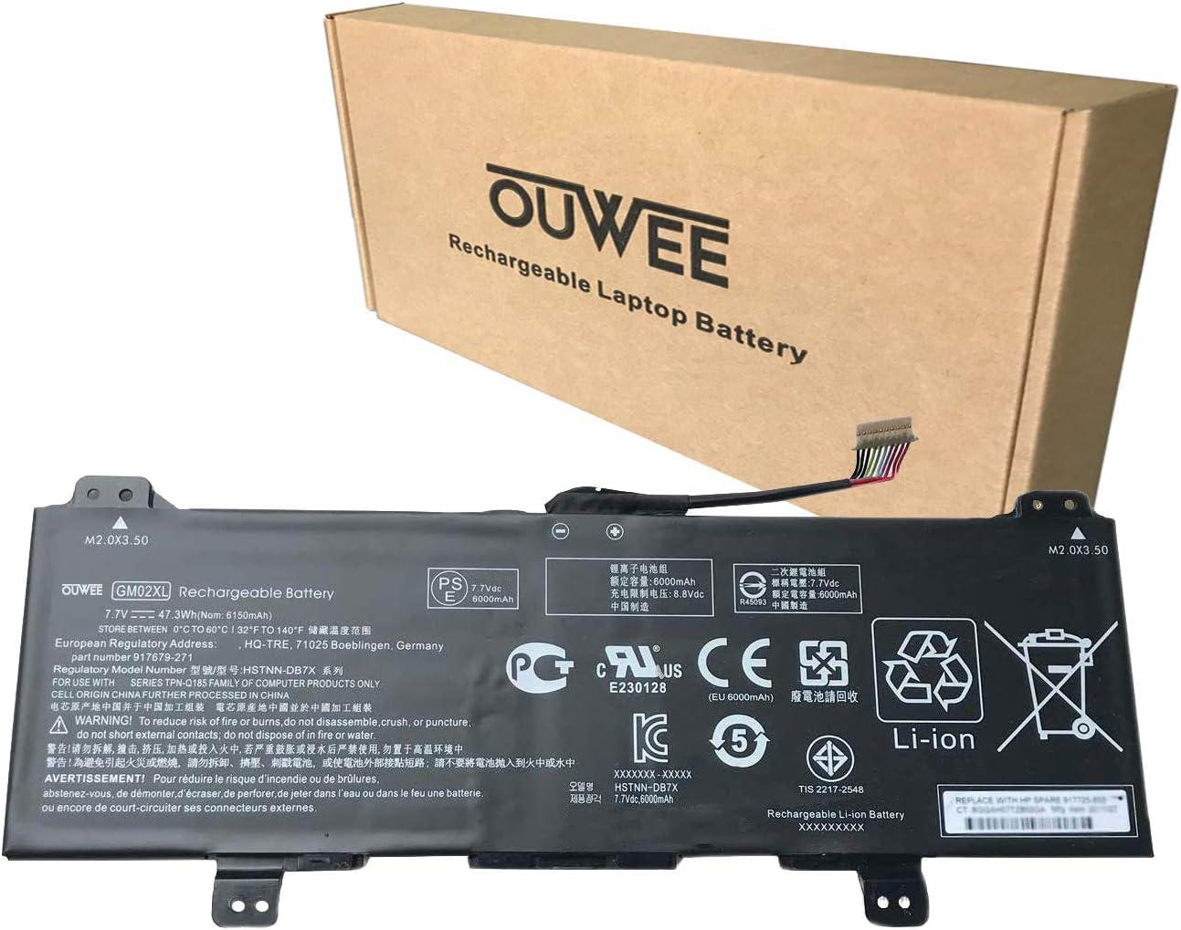 OUWEE GM02XL Laptop Battery Compatible with HP Chromebook 14 G5 Chromebook X360 11 G1 Series Notebook GMO2XL HSTNN-DB7X HSTNN-UB7M 917679-271 917725-855 7.7V 47.3Wh 6150mAh