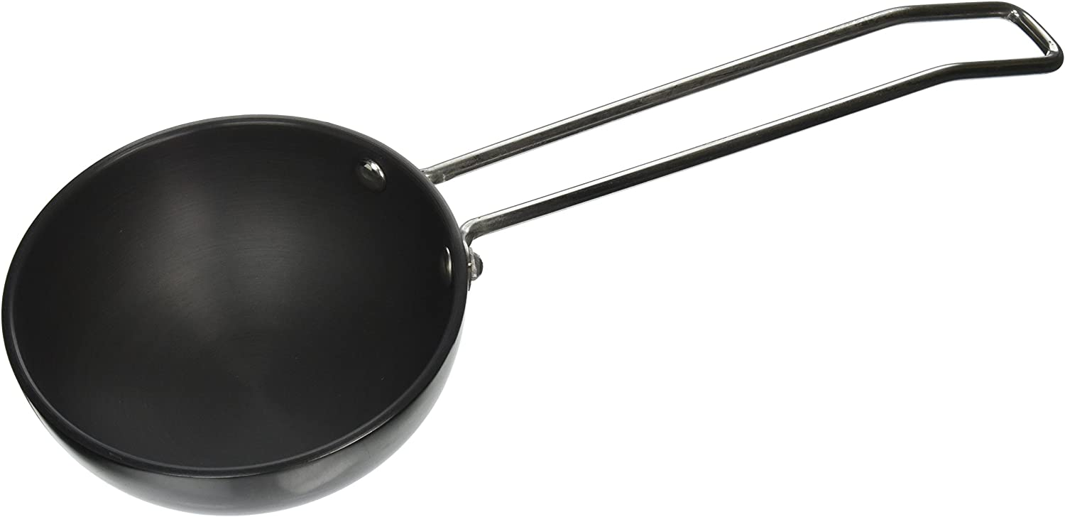 Vinod Hard Anodized 3.25mm Thick Tadka Spice Heating Pan, Large, Black