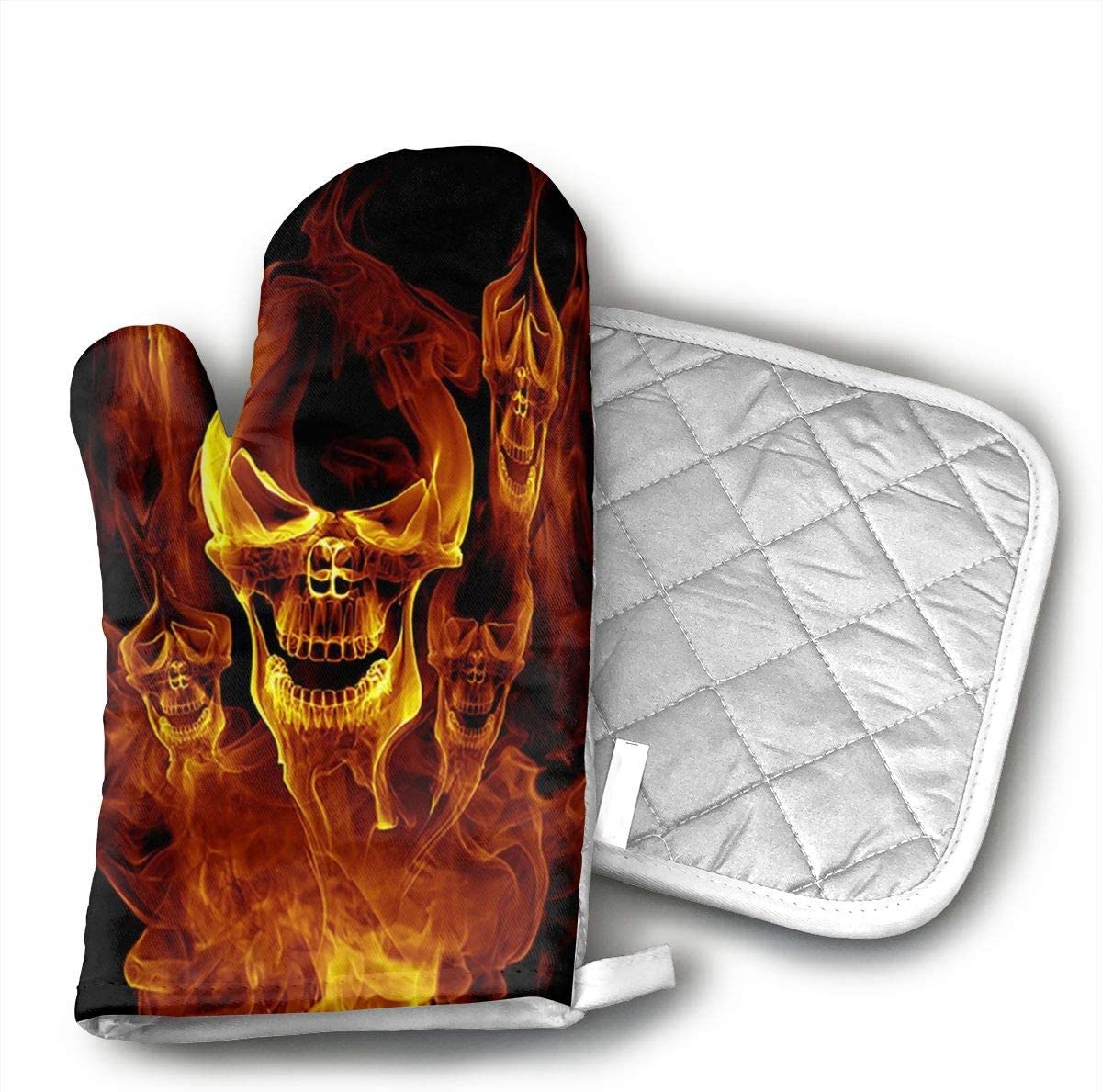 JFNNRUOP Red Burnning Flame Skeleton Skull Head Oven Mitts,with Potholders Oven Gloves,Insulated Quilted Cotton Potholders