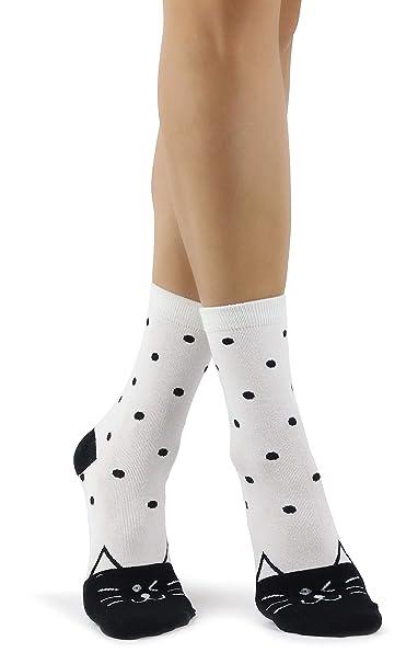 Mixmi Boutique Calcetines blancos y negros lindos del tobillo de la cara del gato de Shibuya en lunares: Amazon.es: Ropa y accesorios