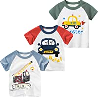 JUNOAI Toddler Boys Little Kids Clothes 3-Pack Short Sleeve Crewneck T-Shirts Top Tee Size for 2-6 Years
