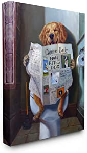 The Stupell Home Décor Collection Dog Reading The Newspaper On Toilet Funny Painting Stretched Canvas Wall Art, 16 x 20, Multi-Color