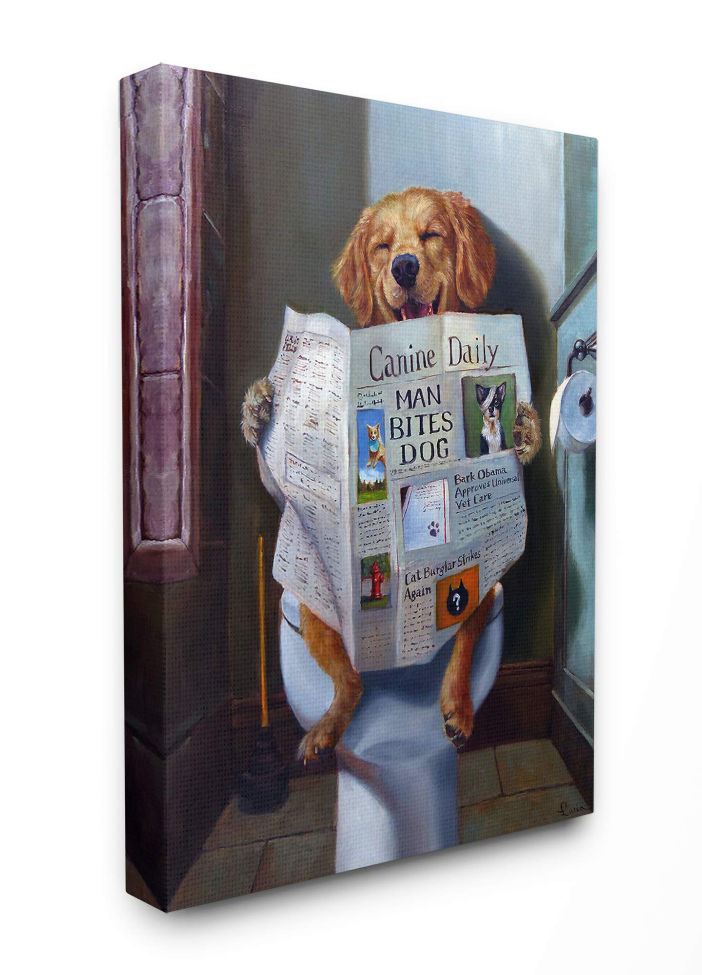 The Stupell Home Décor Collection Dog Reading The Newspaper On Toilet Funny Painting Stretched Canvas Wall Art, 16 x 20, Multi-Color by The Stupell Home Decor Collection
