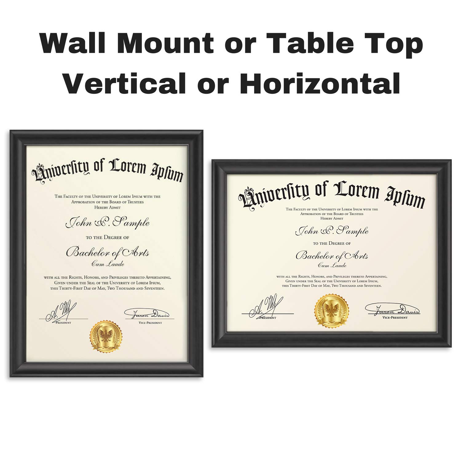 Icona Bay 8.5x11 Document Frame (12 Pack, Black), Black Certificate Frame 8.5 x 11, Composite Wood Diploma Frame for Walls or Tables, Set of 12 Lakeland Collection by Icona Bay (Image #3)