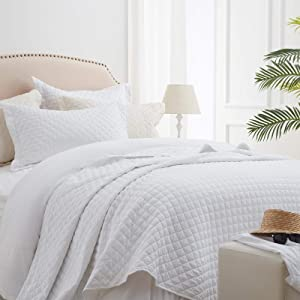 """SunStyle Home Quilt Sets Queen White Lightweight Bedspread Soft Coverlet for All Season 3pcs Diamond Quilted Bedding Set (1 Quilt 2 Pillow Shams)(90""""x96"""")"""