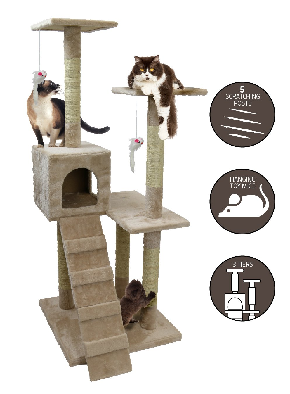 Large Cat Tree House - 4 Foot Tall Soft Felt Carpet Climbing Play Tower and Scratcher for Pets to Play, Scratch and Rest – Three Levels with Ramps, Fort and Mouse Toys – Easy Assembly – by Petlo