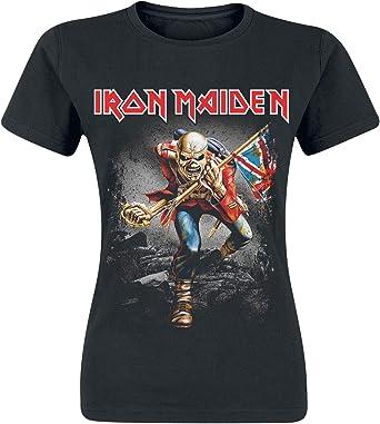 Iron Maiden Vintage Trooper Mujer Camiseta Negro, Regular: Amazon.es: Ropa y accesorios