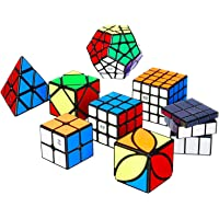 Nitrocubes Speed Cube Set Magic Cube Bundle with Puzzle Solution Book and Stand 2x2 3x3 4x4 Pyramid Megaminx Skew Mirror Ivy Sticker Cubes 8+2 Pack