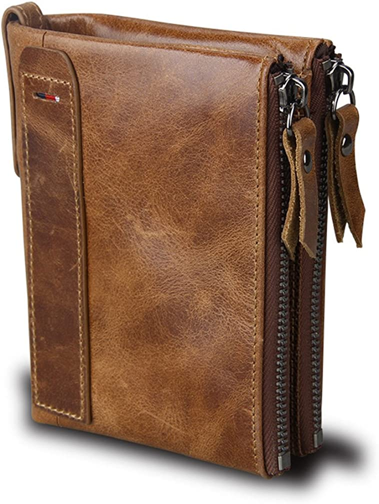 CONTACT/'S HOT Genuine Crazy Horse Cowhide Leather Men Wallet Short Coin Purse Sm