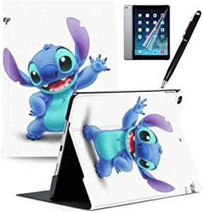 "iPad 7th Generation 10.2"" 2019 Case Cartoon Lilo & Stitch Cartoon Protection Lightweight PU Leather Smart Auto Sleep/Wake Cover Compatible for Apple iPad 10.2 inch 2019#H"