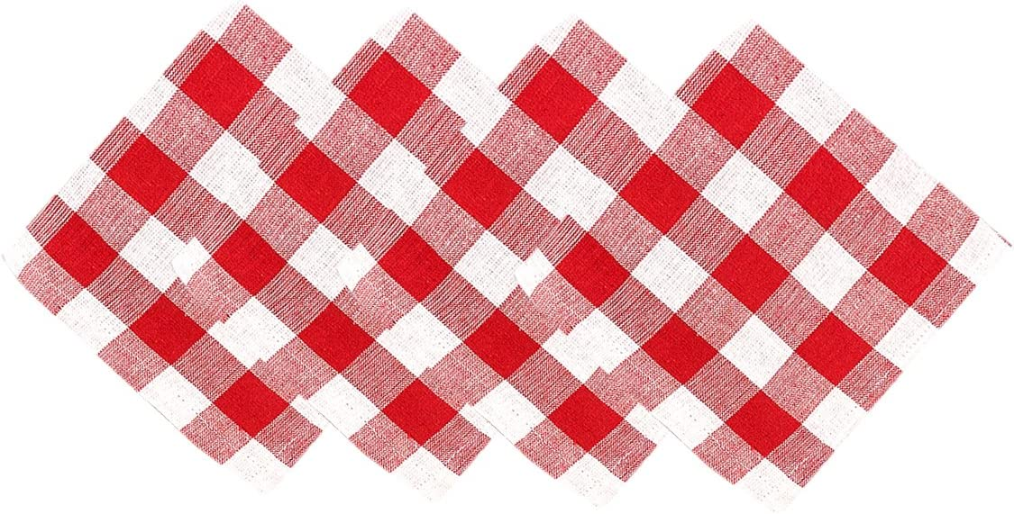 Buffalo Gingham Check Indoor/Outdoor, Buffalo Plaid 100% Cotton Weave, Set of 4 Napkins, Red