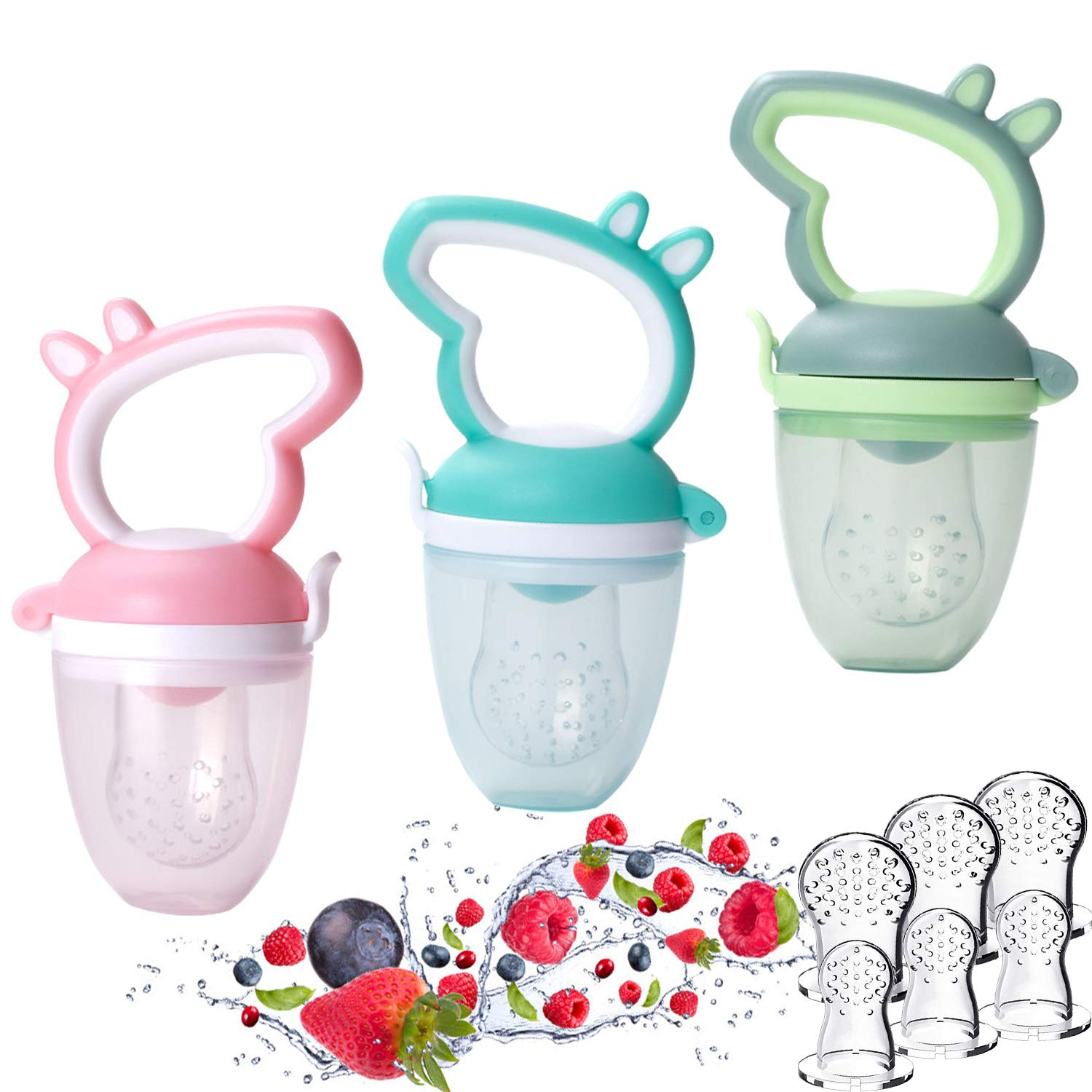 LABOTA 3 Pack Baby Food Feeder/Fruit Feeder Pacifier Infant Fresh Fruit Silicone Nipple Teething Toy Teether in Appetite Stimulating Colors, Bonus 6 Silicone Sacs