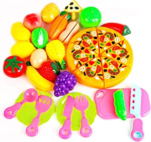 FEEMOM Kitchen Toys Cutting Fruit Vegetables Play Fun, Utensils 26 Pieces Pizza & Knife Toy, Knife, Fork, Spoon and Plate Pretend Cutting Food Playset for Girls Boys Toddler