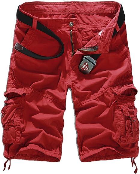 WSLCN - Pantalones cortos para hombre, estilo retro, holgado, de algodón, con bolsillos